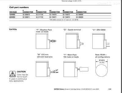 伊顿螺纹插装电磁阀线圈MCSCP012BN000010