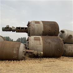 二手不銹鋼外盤管式反應釜全套處理多臺