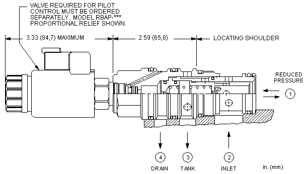 PVHL8 : 先导控制式, 减压/溢流 主级 带集成T-8A控制插孔 和 口4外泄